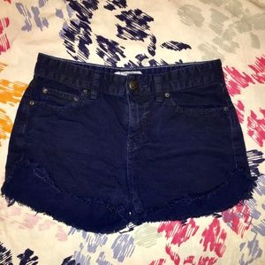 Free People Dark Blue Distressed Shorts
